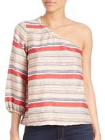 Tanya Taylor Elsa Striped One-Shoulder Top