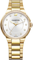 Swarovski Women's Swiss City Crystal Accent Gold-Tone Stainless Steel Bracelet Watch 38mm
