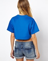 Asos Neoprene Crop Top with V-Neck and 82 Print