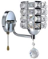 Wefond Modern Crystal Wall Light Pendent Lamp Chrome Finish Bedroom Sconce Lighting Fixture with Pull Cord Switch, E14 Socket (Cylinder)