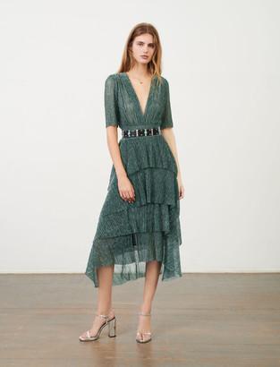 Maje Stretch lurex fabric dress with ruffles