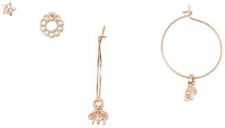 Area Stars Bee Hoop & Stud Earrings Set
