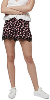 Topshop Stitch Floral Print Lace Trim Shorts