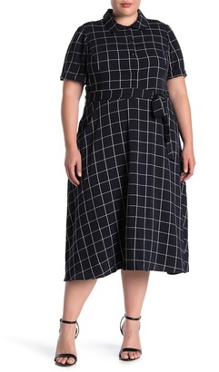Maggy London Short Sleeve Windowpane Printed Midi Dress (Plus Size)