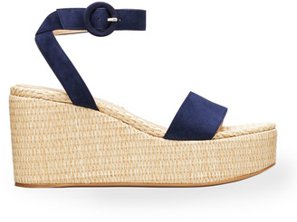 Gianvito Rossi 45mm Suede Raffia Wedge Sandals