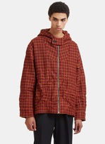 Marni Oversized Tweed Hooded Jacket In Red, Orange And Brown