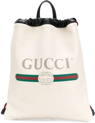 Gucci logo print drawstring backpack