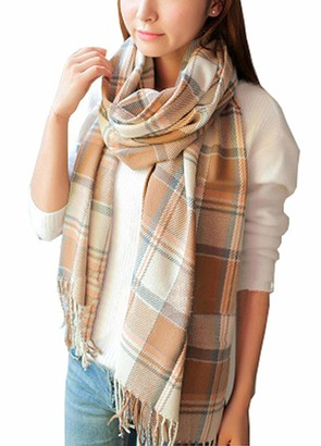 CheChury Tartan Scarf Soft Warm Long Scarves Ladies Wraps Wool Spinning Tassel Shawl Long Stole Scarves Winter Gifts for Women