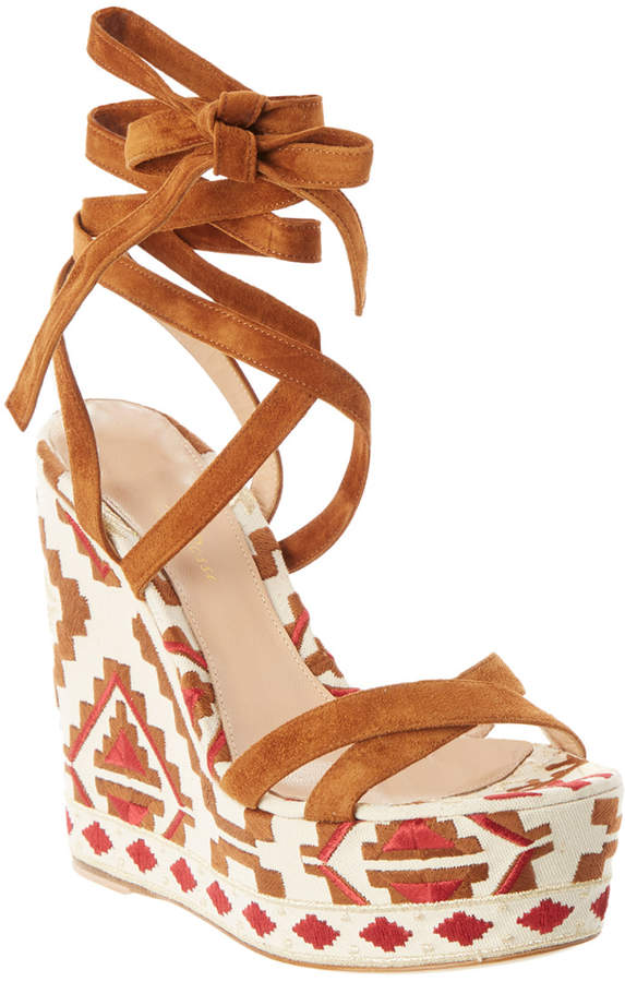 Gianvito Rossi Embroidered Canvas & Suede Wedge Sandal