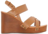 La Redoute Collections Leather Sandals with Wood Effect Wedge Heel