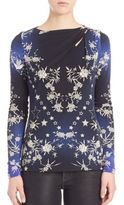 Roberto Cavalli Printed Long-Sleeve Jersey Blouse