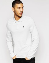 Asos Pique Long Sleeve Muscle Polo With Logo In Gray