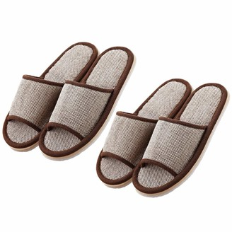 Artibetter 2 Pairs Cotton Slippers 29cm Open Toe Slippers All Season Non Slip Slippers Flip Flop House Slippers for Hotel Home Coffee