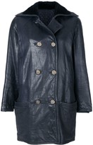 Versace Pre Owned double-breasted leather coat