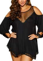 UTOVME Women Plus Size Babydoll Jersey Knit Camisole Dress Lace Trim Lingerie