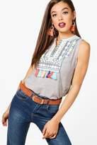 boohoo Layla Stripe Embroidered Tassle Top
