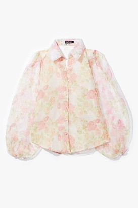 Nasty Gal Womens Tonight's Gonna Be a Bud Night Floral Organza Blouse - Pink - S, Pink