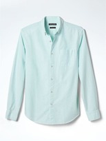 Banana Republic Grant-Fit Cotton-Stretch Stripe Oxford Shirt