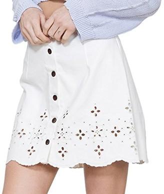 En Creme Women's Woven White Skirt Large
