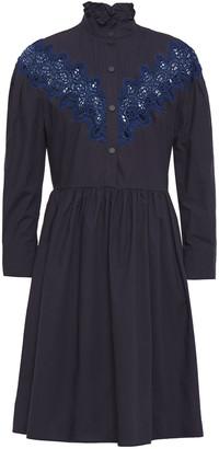Sandro Laura Guipure Lace-trimmed Cotton-poplin Mini Dress