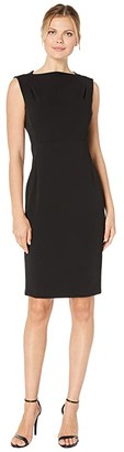 Calvin Klein Bateau Neck Sheath Dress (Black) Women's Dress