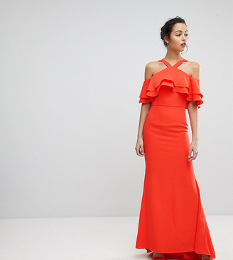 Jarlo Oversized Ruffle Front Maxi Dress