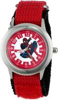 Spiderman Marvel Comics Kids' W000312 Marvel Kid's Stainless Steel Time Teacher Red Velcro Strap Watch