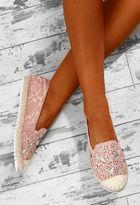 Pink Boutique Chantilly Pink Embellished Lace Espadrilles