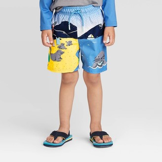 Cat & Jack Toddler Boys' Sea Lion Swim Trunks - Cat & JackTM Blue