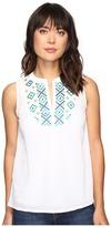 Tommy Bahama Gauze Embroidered Sleeveless Bib Tunic