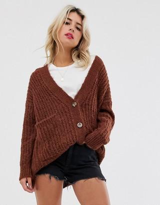 Asos Design DESIGN rib knit button cardigan in oversized shape-Brown