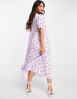 Lost Ink midi smock dress with tie front in pretty floral