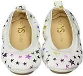 Yosi Samra Girls Sammie Foil Printed Leather Slip on Ballet Flat (Toddler)