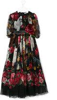 Dolce & Gabbana dog and roses print dress - kids - Silk/Viscose - 12 yrs