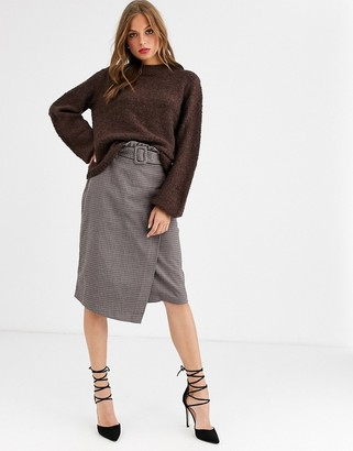 Vila belted check midi skirt