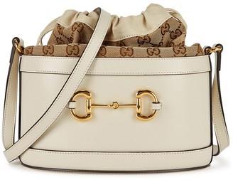 Gucci 1955 Horsebit Ivory Monogrammed Bucket Bag