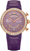 Swarovski Women's Swiss Chronograph Citra Sphere Violet Leather Strap Watch 38mm 5210211