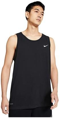 Nike Big Tall Dry Tank Top Dri-Fit Cotton Solid (Black/White) Men's Sleeveless