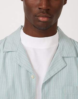The Idle Man - Stripe Revere Collar Shirt Green