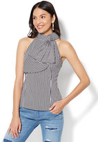 New York & Co. 7th Avenue - Madison Stretch Shirt - Bow-Accent Halter - Stripe