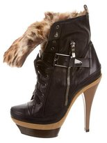 Barbara Bui Fur-Accented Platform Ankle Boots