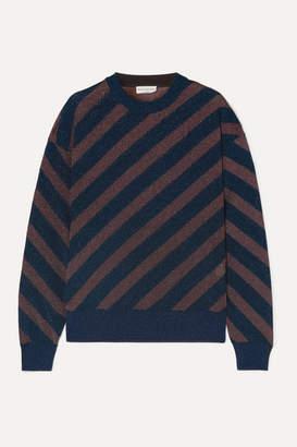 Sonia Rykiel Striped Metallic Knitted Sweater - Navy