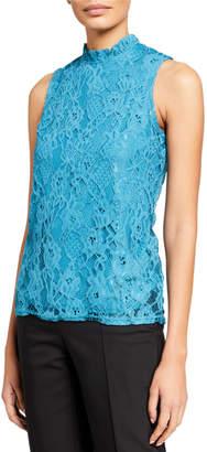Nanette Lepore Nanette Sleeveless Lace Top with Ruffle Neck