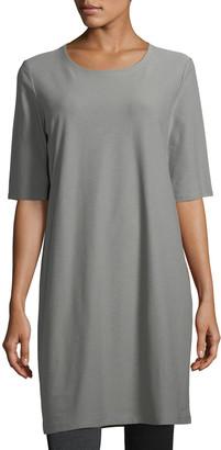 Eileen Fisher Petite Half-Sleeve Crepe Shift Dress