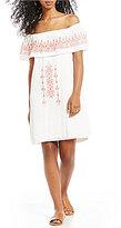 Sanctuary Lulu Off-the-Shoulder Embroidered Shift Dress