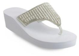 OLIVIA MILLER Miramar Multi Rhinestone Wedge Sandals Women's Shoes