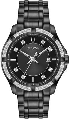 Bulova Men's Diamond Pave Black Stainless Steel Watch, 42.5mm