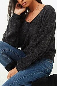 Forever 21 Boucle Knit Drop-Sleeve Top