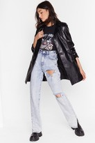 Nasty Gal Womens Never Belt This Way Faux Leather Trench Coat - black - L