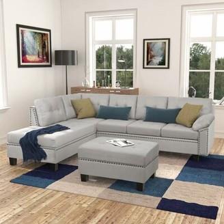 "Red Barrel Studio Dezmin 105.1"" Wide Microfiber Left Hand Facing Sofa & Chaise with Ottoman"